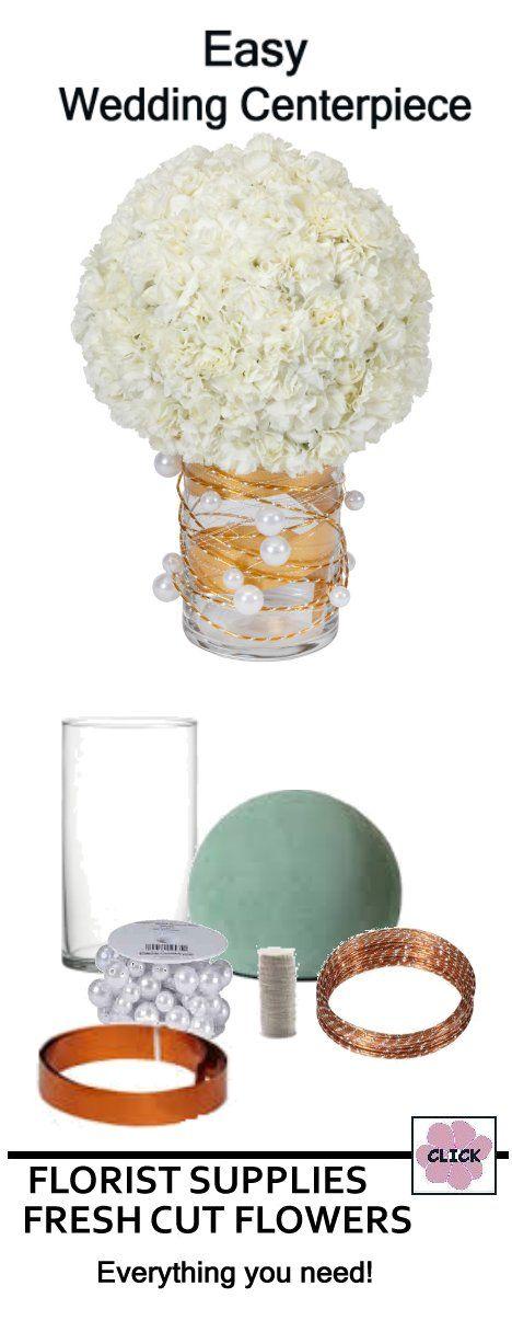 Wedding flower centerpieces white carnation sphere