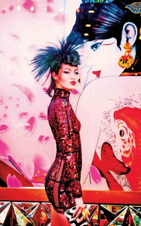 """Tokyo Neon Girls"" by Ellen von Unwerth for Vogue Japan July 2014  Repinned by www.lecastingparisien.com"