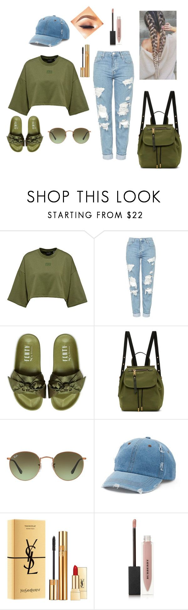 """""""School outfit #6"""" by spongeboblov ❤ liked on Polyvore featuring Topshop, Puma, Marc Jacobs, Ray-Ban, Mudd, Yves Saint Laurent and Burberry"""