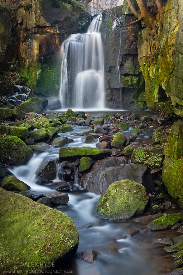 Waterfall tumbling over moss-covered boulders at Lumsdale, Derbyshire, UK. January.