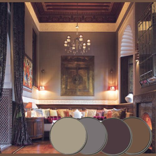 Mellow Moroccan Paint Palette - Farrow & Ball Pelt, London Clay, Brassica, Mouse's Back