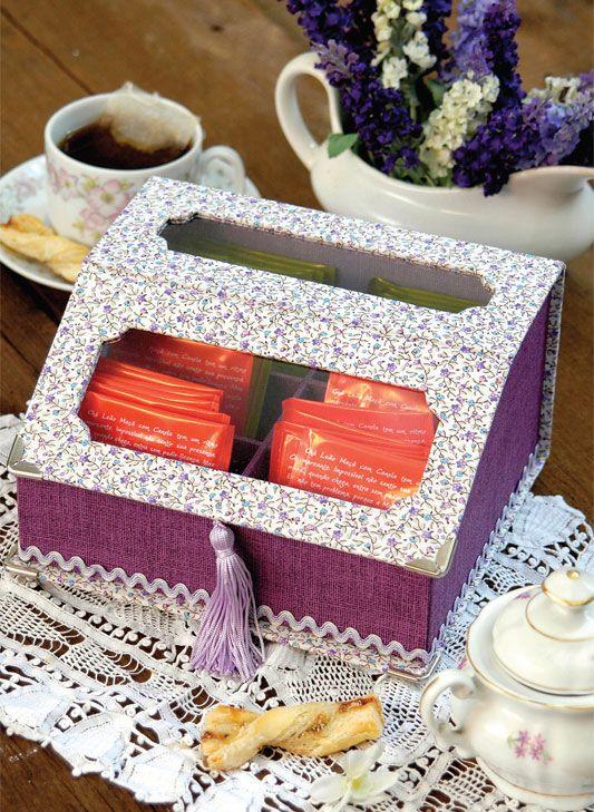 Caixa de chás com cartonagem / DIY, Craft, Upcycle