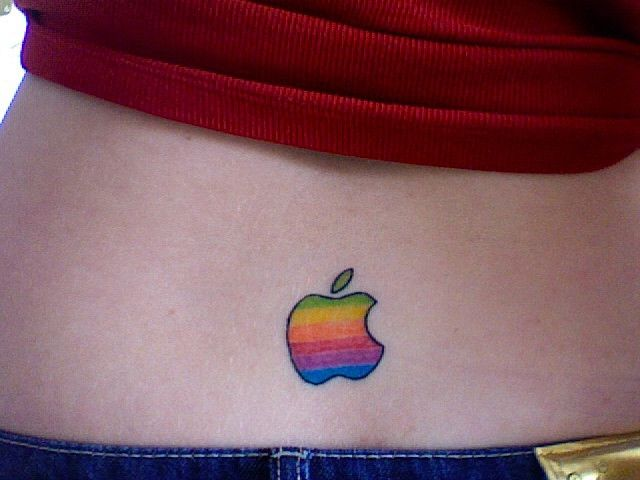 Colorful Apple Logo Tattoo On Lower Back