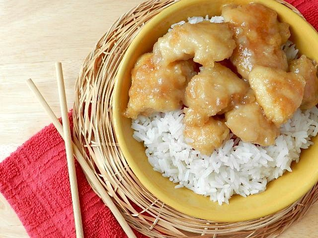 Coconut chicken, Chinese buffet style - very good, but breading got soggy, reduced sugar to heaping 1/2 cup, doubled vinegar