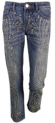 Michael Kors Women's Sexy Boyfriend Studded Jeans (0, Medium Vintage Wash)