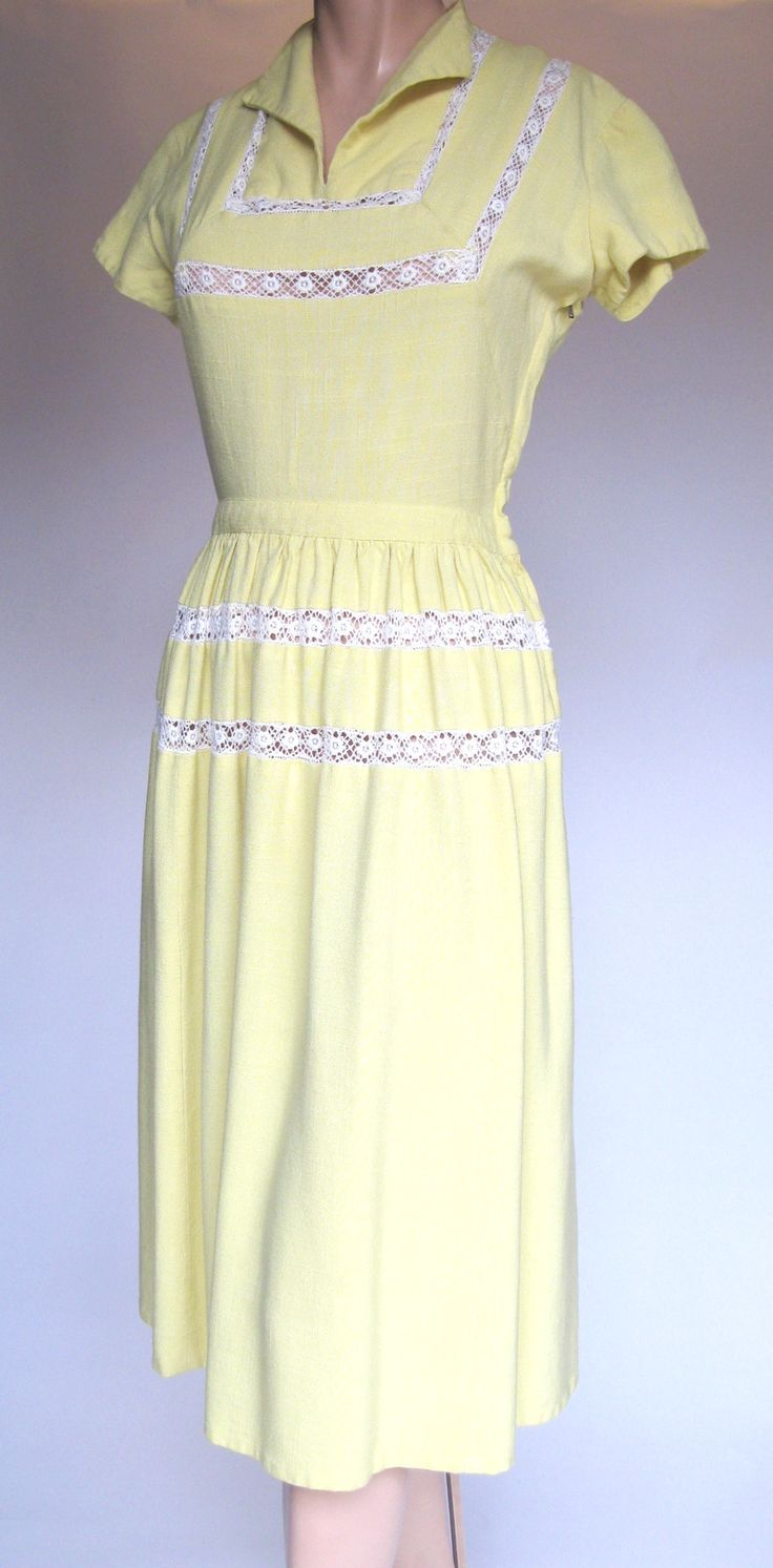 1950's Yellow Day Dress This 1950's yellow day dress is just so sweet! Prefect for warm summer weather or brightening up any dull day. In this dress you'll bring sunshine everywhere you go! Features:
