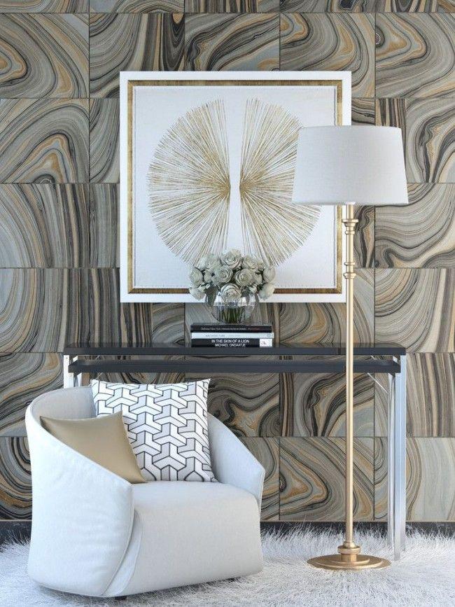 Необычное оформление стены панелями плиточного типа