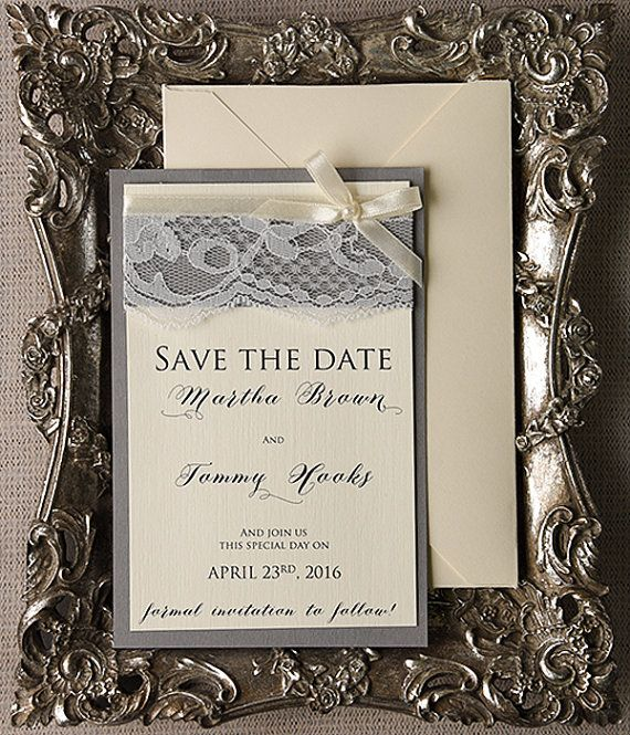 Save The Date Cards 20 Grey Lace Save the Date by forlovepolkadots