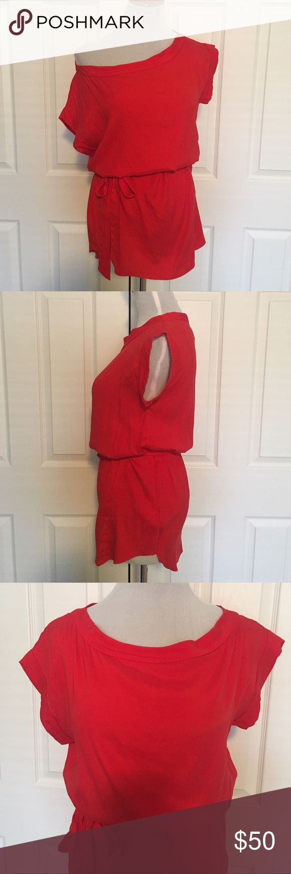 """Guess by Marciano Red Off Shoulder Top Red off the shoulder top Cute scrunch detail in the back  String to tie in the waist area  Length is about 30"""" Size extra small  Good condition, just a little wrinkly Guess by Marciano Tops Blouses"""