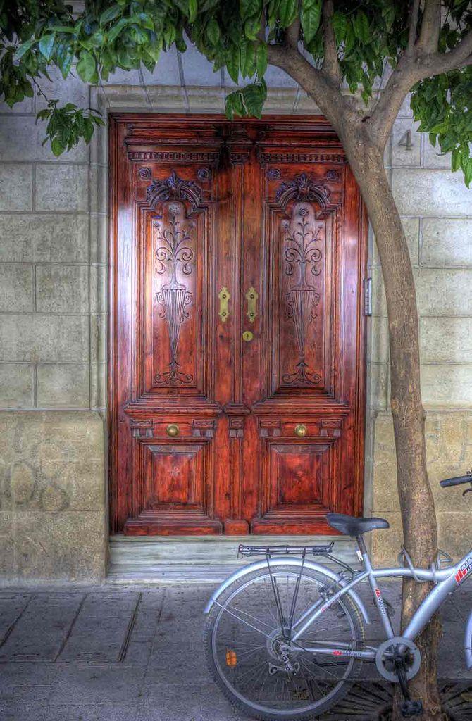 Residential doorway in Jerez de la Frontera, Andalusia_ Spain