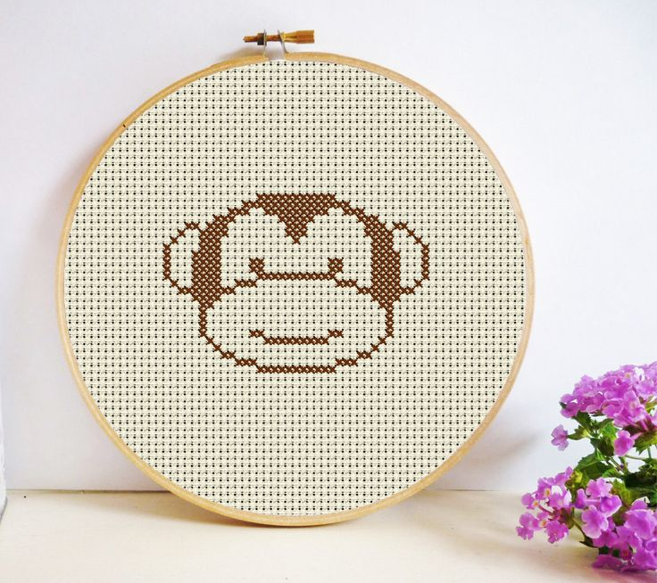 Monkey Cross Stitch Pattern PDF Instant Download - mini pattern - Fast easy simple by HeritageStitch on Etsy
