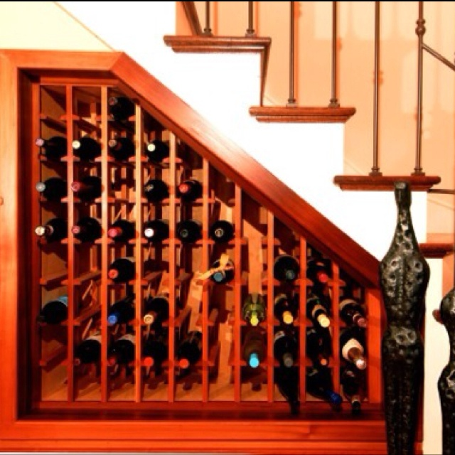 Wine rack under the basement steps
