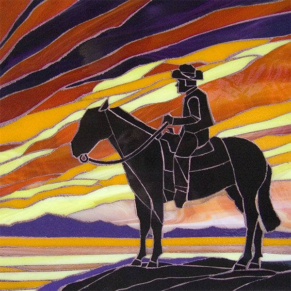 Sunset Cowboy By Velvet Glass Animals Horses Stained