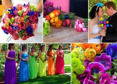 A Bride's place to wander...: Wie zegt dat je niet meer dan twee kleuren voor je bruiloft mag kiezen? Het mag en het is ook heel goed mogelijk om alle kleuren van de regenboog bij elkaar te gooien!