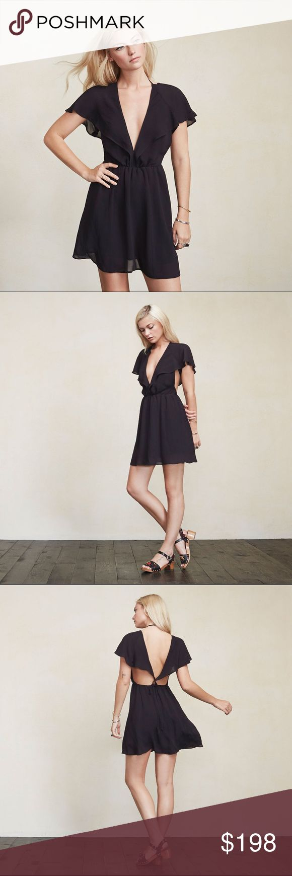 Reformation Bristol Dress - Black / 2 Little dresses go with every mood. The Bristol Dress will emotionally support you no matter what's going on. It's clothing therapy, meaning when you see how good you look in it you'll be all smiles. This is a georgette mini dress with a plunging V neckline (fyi there's a hook/eye closure in case you'd like a bit less of a plunge), sheer cape sleeves, and adjustable tie straps in the back. It's fitted at the waist but the skirt can move. Hook/zip closure…