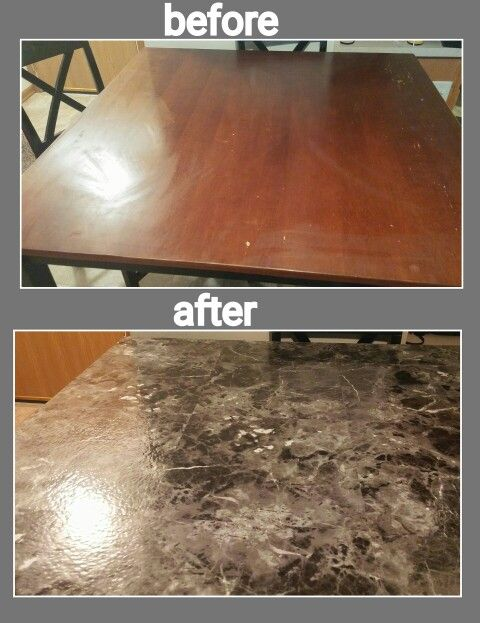 Re Did My Scratched Up Table Top With Vinyl Peel And Stick