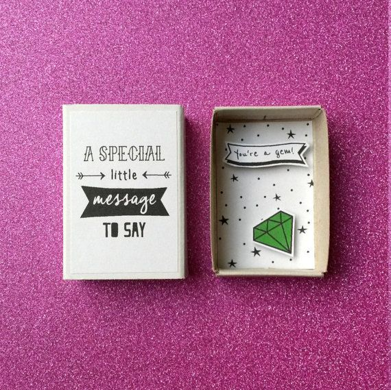 BFF Matchbox Card / You Are A Gem / Greeting Card by PINSandPUNSco