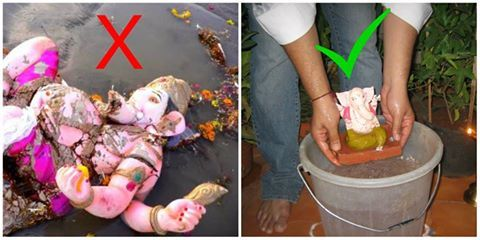 Pollute the waters by disposing idols with chemical paints or use Eco-Friendly Ganesha's that can dissolve safely in 1/2 bucket of water. The choice is yours! #ecofriendlyganesha #ganesha #ganesh #festival #ganeshchaturthi #ecofriendly