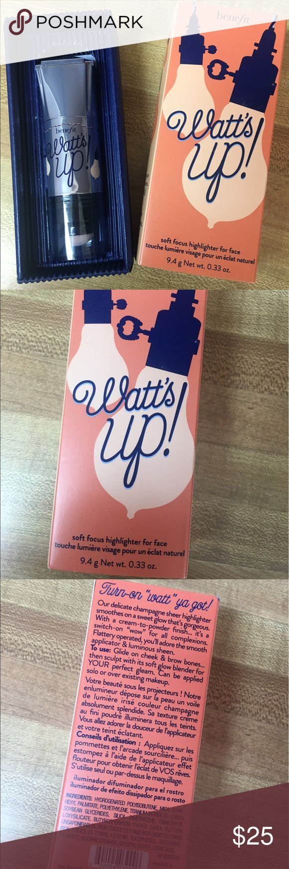 BENEFIT WATTS UP HIGHLIGHTER BRAND NEW IN BOX Brand new benefit watts up highlighter brand new in box purchased for $30 Benefit Makeup