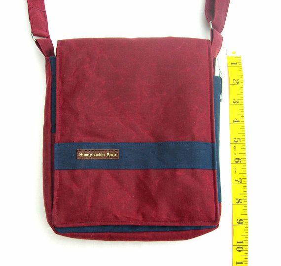 Waxed canvas messenger bag. Small messenger by HoneysuckleBarn