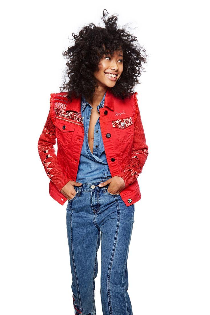 Women's red denim jacket - Kyle | Desigual.com