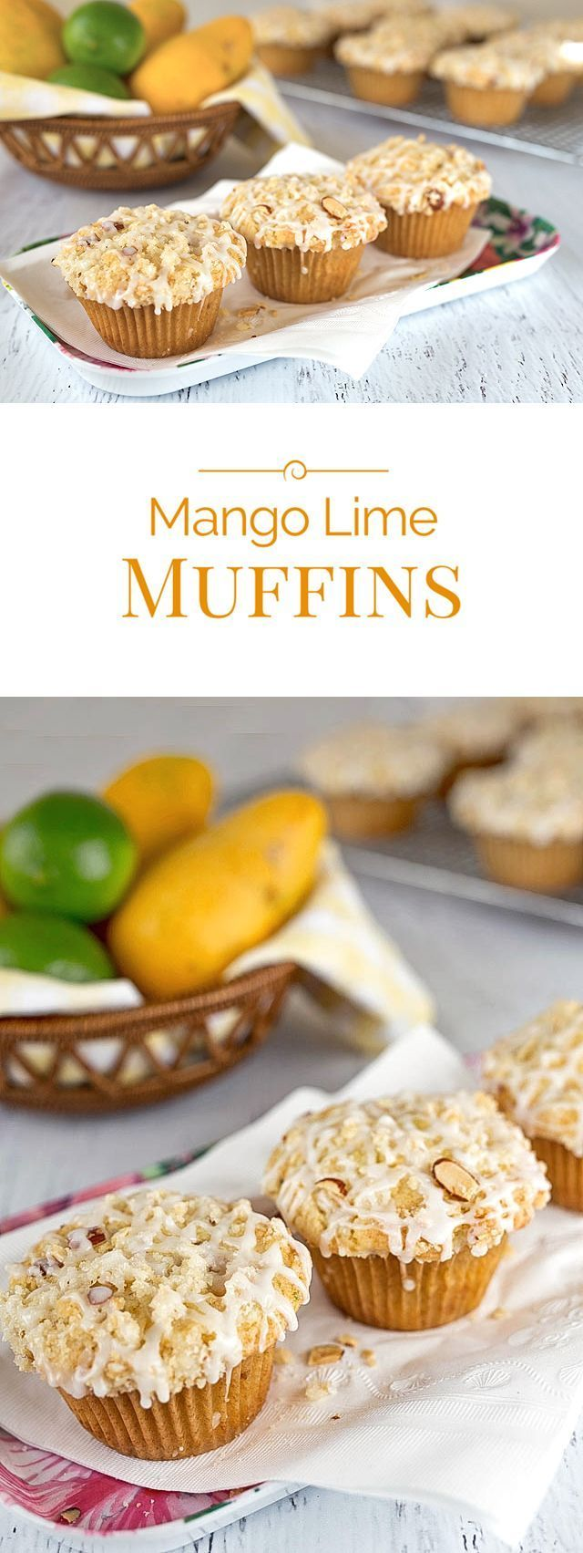 Tender, light, fluffy muffin Mango Lime Muffins loaded with chunks of mango, topped with a sweet, almond streusel, and drizzled with a tart lime glaze.