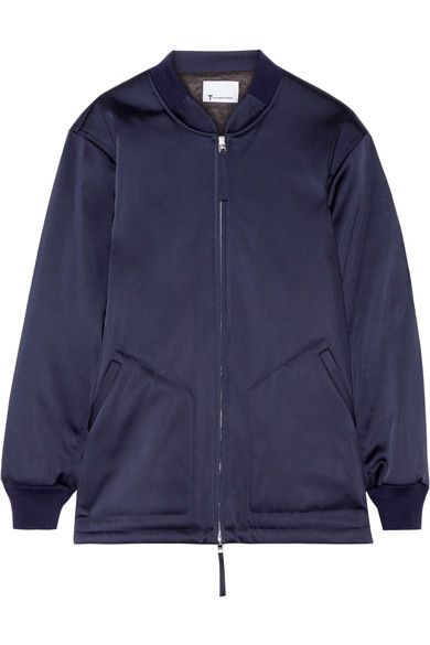 T by Alexander Wang - Oversized Satin Bomber Jacket - Navy -