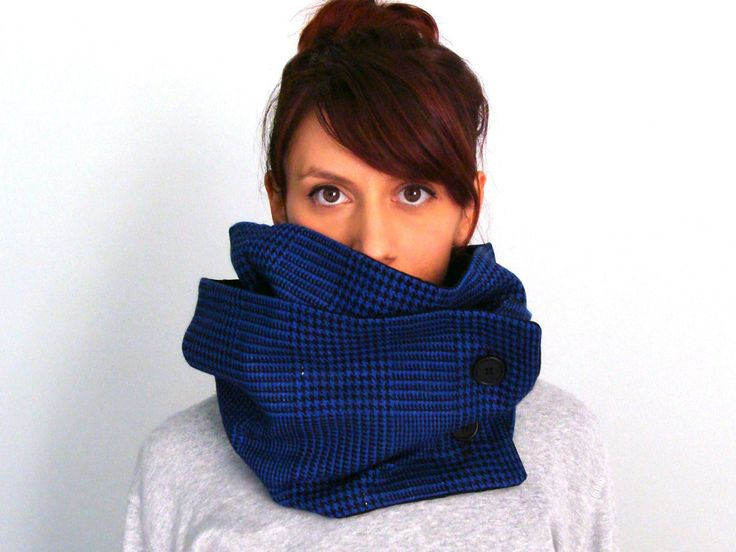 Warm wool button scarf in royal blue houndstooth tartan plaid & black cotton with two black buttons - FOR SALE: 44.00€ - Click here to buy: clothbot.gr - clothbotshop.etsy.com - double lined, turns twice around - Fall Winter 2015 scarves, accessories, trends, holidays, christmas gifts