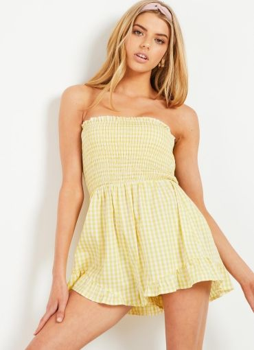 In Our Dreams Playsuit - Yellow Gingham