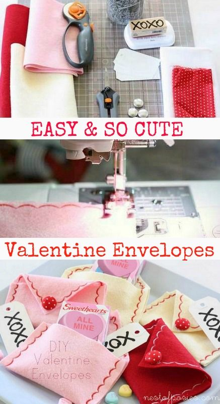These darling DIY Valentine Envelopes are incredibly easy to make and you'll just use two stitches on your sewing machine to make them to complete. So easy.