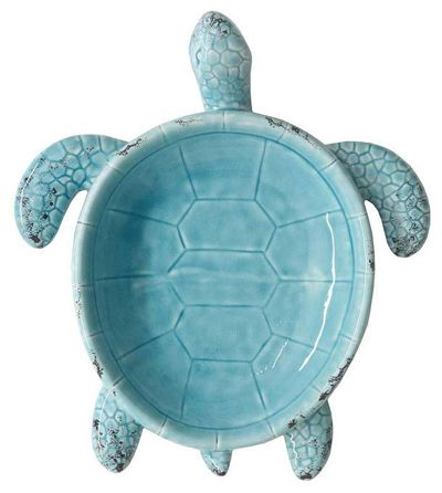 "Show off a little shoreside style with this Ceramic Turtle Dish. Measures 14"". $50 Sale $25. Buy here."
