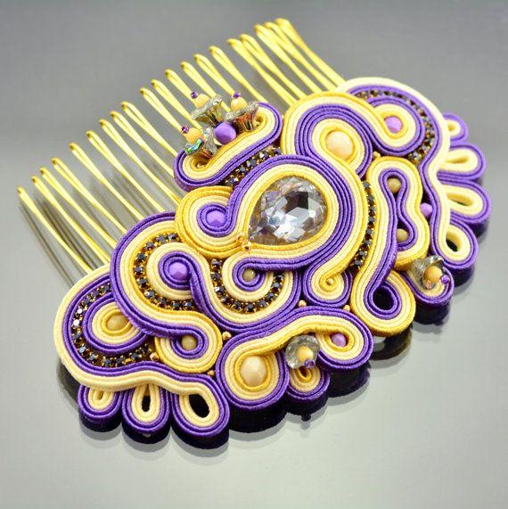 Soutache Bridal Hair Comb - Violet Creamy Gold Yellow Soutache Hair Comb - Hair…