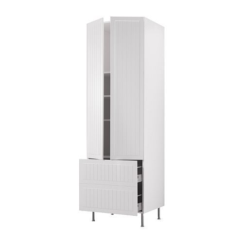 Akurum high cabinet w shelves 2 drawers white del for 30 deep kitchen cabinets