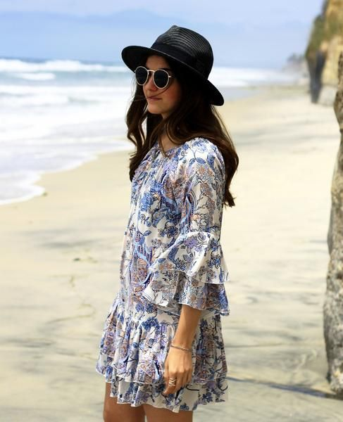 Garden Party Printed Flounce Dress beach vacation style Toronto California women's fashion online boutique Shine & Gold
