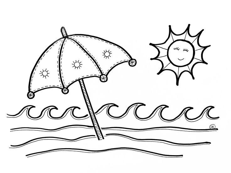 zomerse kleurplaten zon zee en strand kleurplaten