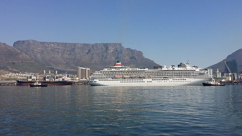 Asuka 2 departing Cape Town Harbour
