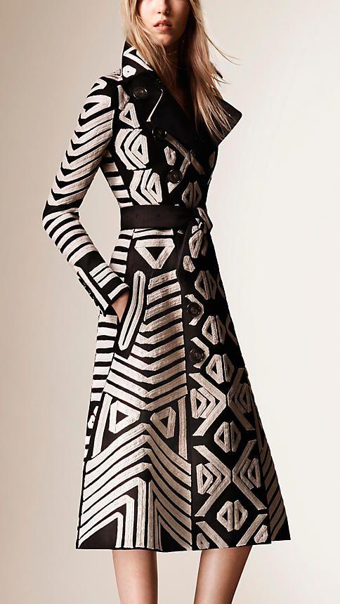 Preto Casaco de cetim de algodão com detalhes bordados - Imagem 1