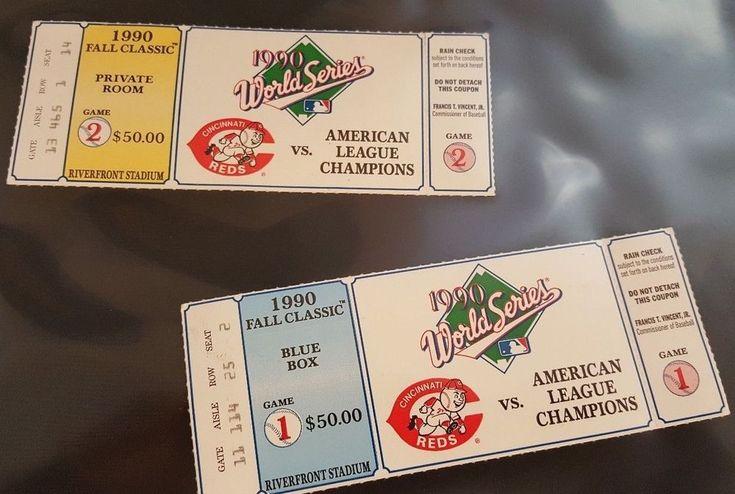 two 1990 World Series unused tickets Cincinnati Reds vs Oakland Athletics  #Athletics