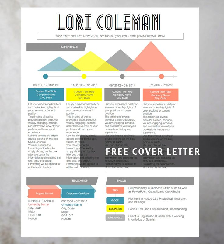 9 best Colorful Infographic Resume Template images on Pinterest - artsy resume templates