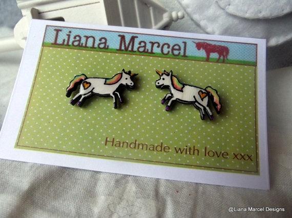 Hand made illustrated faux enamel Unicorn stud by LianaMarcel, $15.00