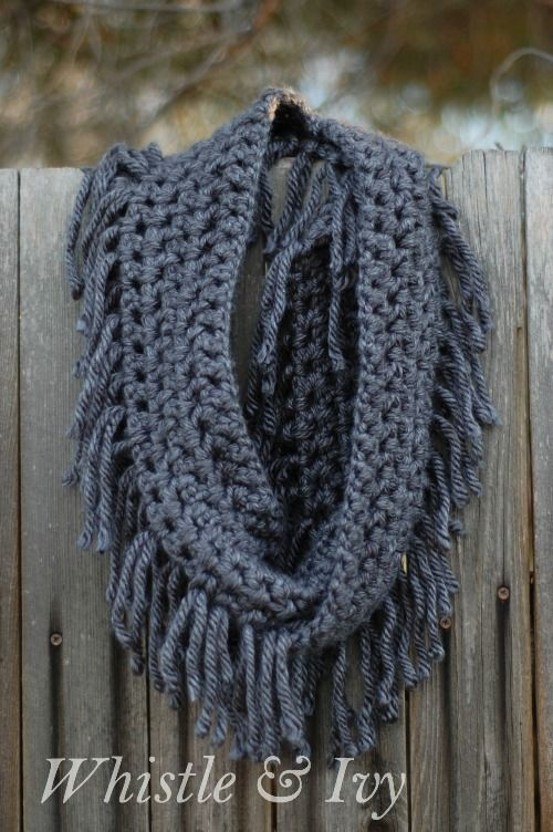 How to crochet a simple chunky fringe scarf :-)