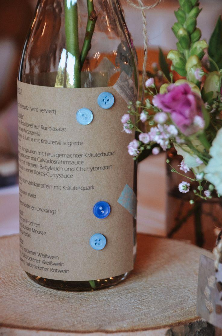 Die Menükarten für dieses Konzept entstanden ebenfalls bei uns. Dazu beklebten wir Flaschen mit Kraftpapier und blauen Knöpfen. Die Flaschen konnten wir so nicht nur als Menükarten einsetzen sondern auch als Vasen für die Tischdekoration. www.annatews.de