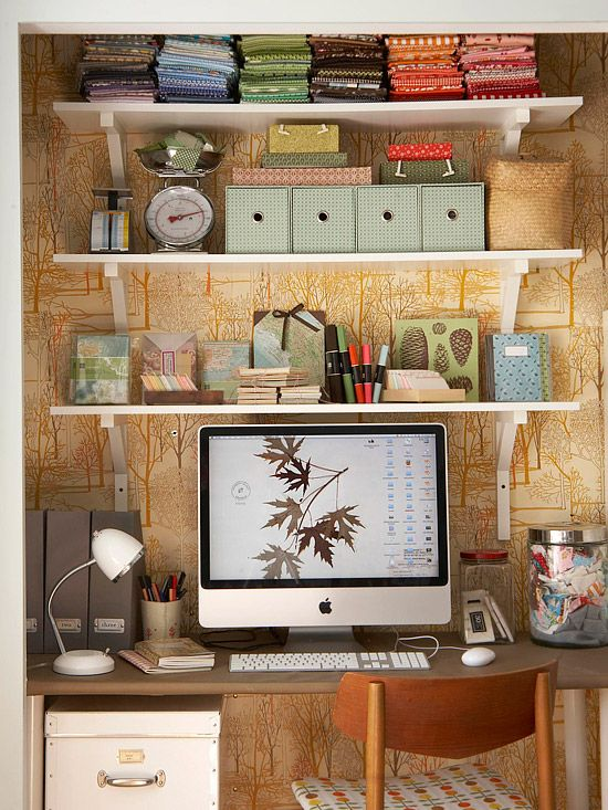 Cozy closet office with the help of shelving and wallpaper: Closet Offices, Decor Ideas, Organizations Ideas, Offices Spaces, Shelves, Small Offices, Work Spaces, Workspaces, Home Offices