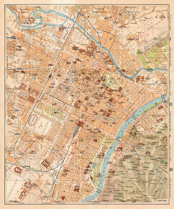 Old map of Torino, Italy
