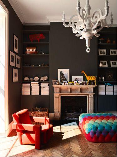monochrome: Decor, Wall Colors, Ideas, Houses, Living Rooms, Dark Walls, Interiors Design, Grey Wall, Black Wall