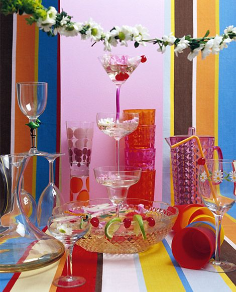 Colorful table decorations for a party.