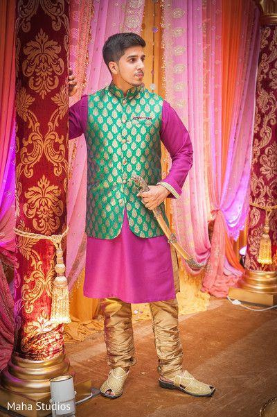Indian groom sangeet look. http://www.maharaniweddings.com/gallery/photo/106045