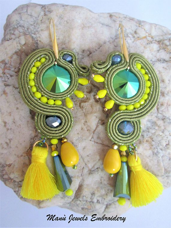 soutache earrings green and sun Soutache Earrings Handmade