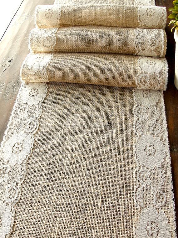 Burlap table runner with vintage cream lace rustic chic. Easy pretty idea.