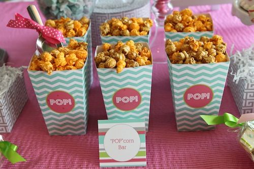 Ready to Pop Baby Shower - use popcorn as snack or party favor!Pop Shower, Popcorn Snacks, Parties Favors, Projects Nurseries, Baby Shower Snacks, Popcorn Bar, Shower Popcorn, Pop Baby Shower, Baby Shower